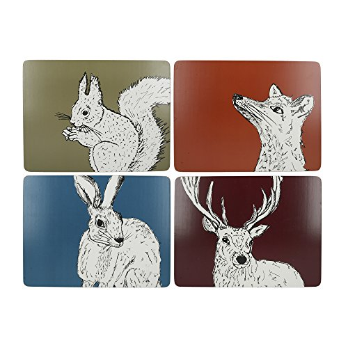 Creative Tops Into The Wild Lot de 4 Sets de Table avec Dos en liège Motif Animaux Multicolore 30 x 23 cm