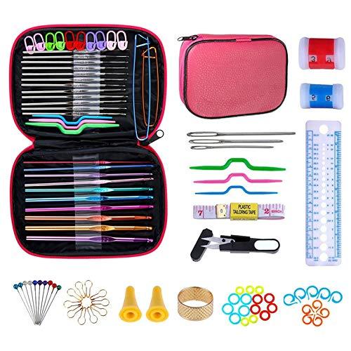 NIAGUOJI Ganchillos Crochet 100Pcs Kit de Ganchillos ganchos de ganchillo con mango ergonómico Conjunto de Tejer en Ganchillo Proyectos herramientas de tejido de punto con estuche de cuero