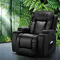 Recliner Chair, Artiss Electric Lounge Leather Recliner Chair 8-Point Heated Massage Recliner Armchair, Black