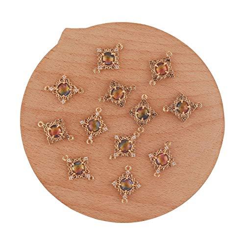 Accessorie 50 accesorios de joyería de 15 x 19 mm, hechos a mano, conectores de cristal, forma cuadrada, abalorios, pendientes y manualidades, color azul, amarillo y rosa
