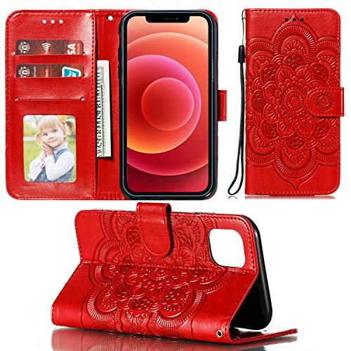 UNKNOK Wallet Case for iPhone 12 5G and iPhone 12 Pro 5G with Card Holder Slot Slim Premium PU Leather Kickstand Embossed Mandala Flower Flip Cover for iPhone 12/12 Pro 6.1 inch