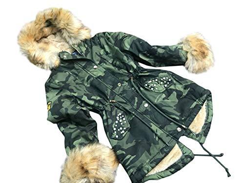 cocomini Winterjacke für Mädchen Parka Camouflage warme Jacke mit Beige Plüschfutter Expressversand mit DPD (134/140)