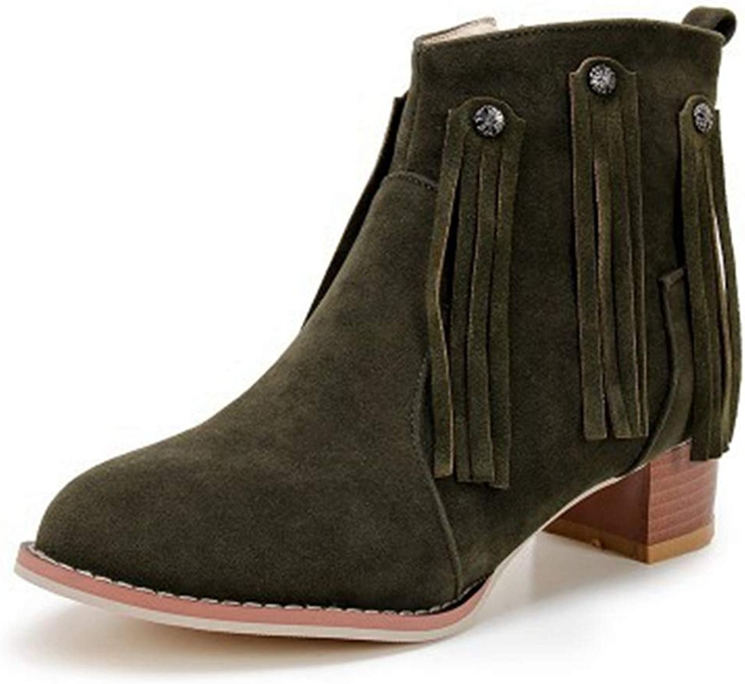KEREE Women's Fringe Retro Chunky Mid Heel Ankle Boots Suede Platform Bootie Stacked Heel Tassel Boot shoes