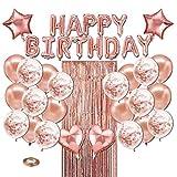 WOTWRE Globos de cumpleaños de Oro Rosa, Pancarta de cumpleaños, Globos de Helio, Decoracion de Fiesta de cumpleaños para Mujeres