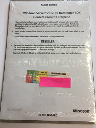 HP Microsoft Windows Server 2012 R2 Datacenter Edition 2 CPU Lizenz E/F/I/G/S (English, French, Italian, German, Spanish) x64, keine CALs, ROK - Reseller Option Kit
