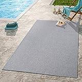TT Home Moderner Outdoor Teppich Wetterfest Für Innen- Und Außenbereich Einfarbig In Grau, Größe:60x100 cm