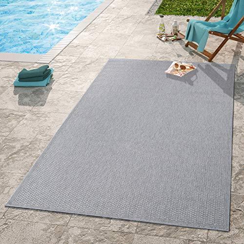 TT Home Moderner Outdoor Teppich Wetterfest Für Innen- Und Außenbereich Einfarbig In Grau, Größe:140x200 cm