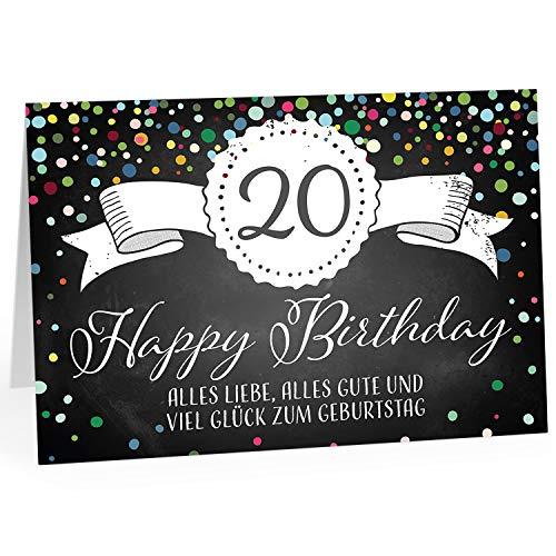 Große Glückwunschkarte XXL (A4) zum 20. Geburtstag - Tafel-Look Konfetti/mit Umschlag/Edle Design Klappkarte/Glückwunsch/Happy Birthday Geburtstagskarte/Extra Groß/Edle Maxi Gruß-Karte