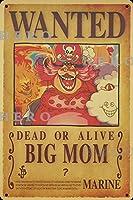 海賊アニメBig Momビッグママ さびた錫のサインヴィンテージアルミニウムプラークアートポスター装飾面白い鉄の絵の個性安全標識警告バースクールカフェガレージの寝室に適しています