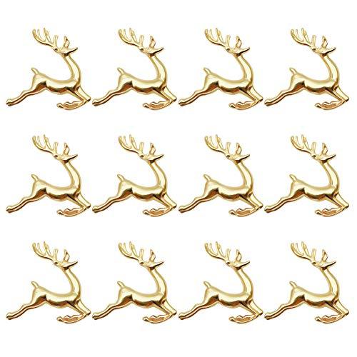MJARTORIA Serviettenringe Gold Hirsch Stoffservietten Serviettenhalter für Weihnachten Hochzeiten Partys Abendessen Feiertage Esstischdekoration(Gold 12er)