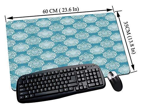 Groß Gaming Mauspad,Blau und Weiß, Damastkunstblumen mit Barockschnörkeln Viktorianische Garteninspiration, Blau und,Rutschfester Gummibasis und Wasserdichter Oberfläche Tastatur Mouse Pad - 60x35 cm