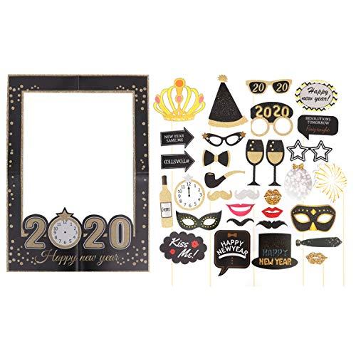 Amosfun 33 Piezas Marco de Selfie de Año Nuevo 2020 Accesorio de Fotos de Fiesta de Año Nuevo Nochevieja