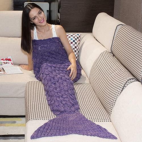 WEWQ Manta de la Cola de la Sirena Todas Las Estaciones Manta de Punto Bolso de Dormir 180 * 80 cm (70 9 * 31 5) (púrpura)-Púrpura (Nuevo)