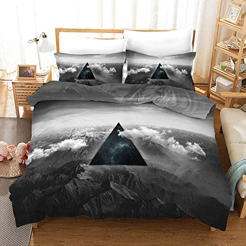 ZGSSSSS 3 Pieces Duvet Cover King Size 3D Black Triangle Duvet Cover Set with 2 Pillowcases 80x80cm Easy Care with Zipper Bedding Quilt Cover for Teen and Adults Bedroom Decro 260x220cm