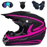 Casco da Motocross per Bambini Set con Occhiali Guanti Maschera, Casco da Moto per Adulti Casco Integrale da Fuoristrada Opaco Uomo Donna per Downhill Enduro BMX Dirt Bike ATV - Nero Rosa,Pink-XL