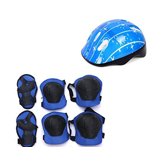 LNIMIKIY Kinder Fahrradhelm und Polster Set, Knieschoner, Ellenbogenschützer und Verstellbarer Helm für Fahrrad, Roller, Skateboard, für Kinder, Jungen und Mädchen, blau