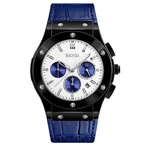 Relojes cuarzo moda para hombres Relojes pulsera masculinos correa cuero Reloj lujo superior para hombres negocios Reloj Hombres, esfera grande redonda Reloj de estudiante impermeable de seis agujas