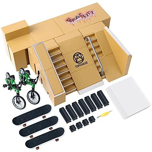 DaCool Skate Park Kit Fingerboard Ramp - 2 Finger Bikes 3 Finger...