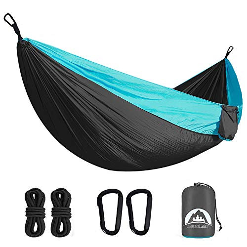 SWTMERRY- Double Camping Hammock Lightweight Nylon Portable,Hammocks with Tree Straps, Hammock 2 Person Heavy Duty, Hammock Backpacking Lightweight,for Adults Kids Hiking Beach (320x200cm)