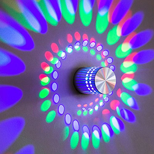 Korowa Spiral Aluminum LED Wall light Home Decoration Bedroom Living Room Ceiling Hallway Porch 3W Atmosphere Lamp RGB colorful light