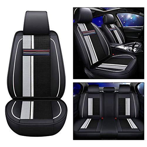 Maite PU Leather Car Seat Covers Cushions 5 Seats Full Set for Mercedes-Benz C300 C230 C350 CLS450 GL450 Front Rear Seat Pad Protectors (Black and White)