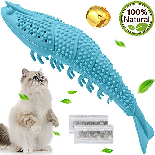 Wisedom Cat Toothbrush Catnip Toy Dental Care Refillable Catnip Interactive Playing Feeding Toy with Bell for Kitten Kitty Cats Teeth Cleaning (Sky Blue)