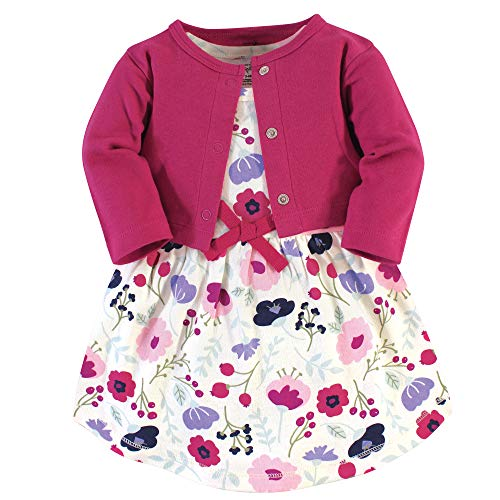 Touched by Nature - Chamarra y Vestido de algodón orgánico para niña, Pink Botanical 2-Piece, 5 Toddler (5T)