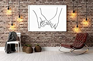 Pretty Shine Pinky Promise line Drawing Poster Gifts for Men Woman Poster Home Art Wall Posters [No Framed]