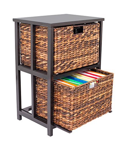 BirdRock Home Abaca 2 Tier File Cubby Cabinet - Vertical Storage Furniture - 2 Drawers - Office Décor - Home Decorative Box Filing - Natural Wood - Delivered Fully Assembled - Hanging Letter and Legal