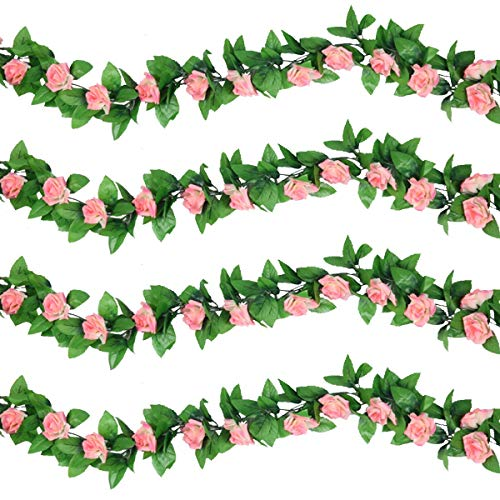 Pauwer 6PCS/48FT Artificial Rose Vine Fake Hanging Flowers Garland Silk Flowers Vines for Wedding Home Garden Party Decoration (Champagne Pink)