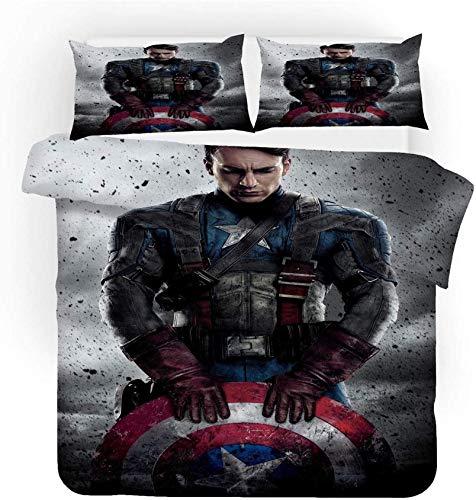 Captain America - Juego de ropa de cama, diseño de Los Vengadores, muy suave y cómodo, 100% microfibra, sin relleno, juego de 3 piezas (Captain2, 135 x 200 cm + 50 x 75 cm x 2)