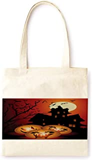 Cotton Canvas Tote Bag Modern Fairy Tale Pumpkin Lantern Ancient Castle Halloween Party Printed Casual Large Shopping Bag for School Picnic Travel Groceries Books Handbag Design