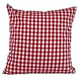 Hans-Textil-Shop Kissenbezug Vichy Karo 1x1 cm Reißverschluss - Landhaus, Karomuster, Kariert (Rot, 40x40 cm)