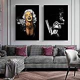 HUANGXLL Figura Retrato Pinturas en Lienzo Famoso Marilyn Monroe Pistola Pistola póster e Impresiones imágenes artísticas de Pared para Sala de Estar decoración del hogar-40x60cmx2 Piezas sin Marco