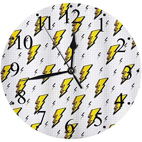 Silencioso Wall Clock Decoración de hogar de Reloj de Redondo,Vintage Retro Flash Electric Icons con Checker Funky Lines Weather Batman Boom Pop Art Comic,para Hogar, Sala de Estar, el Aula