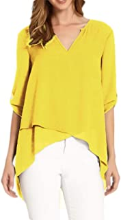 GUOCAI Women Chiffon Tops Asymmetric Hem 3/4 Sleeve V Neck High Low Shirts Blouse