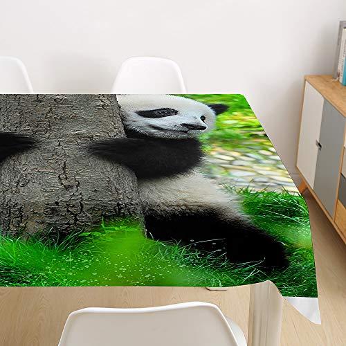 Himlaya 3D Animal Impresión Rectangular Impermeable Manteles, Mantelerias Antimanchas Lavable, Elegante Decoracion Mantel de Mesa, para Cocina Salón Comedor (Panda,140x180cm)