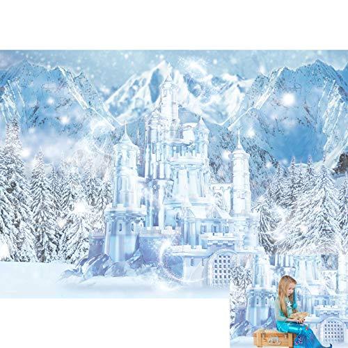 Allenjoy 7x5ft Winter Ice Castle Photography Backdrop Snowy Frozen Wonderland Scenery Landscape Background for Kids Newborn Babies 1st Birthday Party Decor Banner Baby Shower Portrait Photo Booth Prop