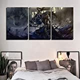 YK-GVOR Cuadro Lienzo 3 Paneles Canvas Home Wall Artwork Decoration 3 Panel Dark Souls Juego Animación Pintura HD Impreso Poster Modular Pictures for Living Room