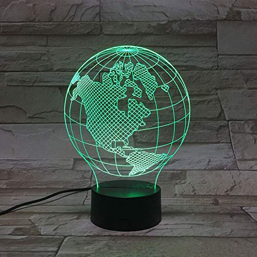 XUIHSA Gift Night Light for Kids 3D Illusion Lamp Different 4 Pattern and 151 Color Change Decor Lamp with Touch & Remote Control for Best Birthday for Girls Boys (Black Base) Map Globe