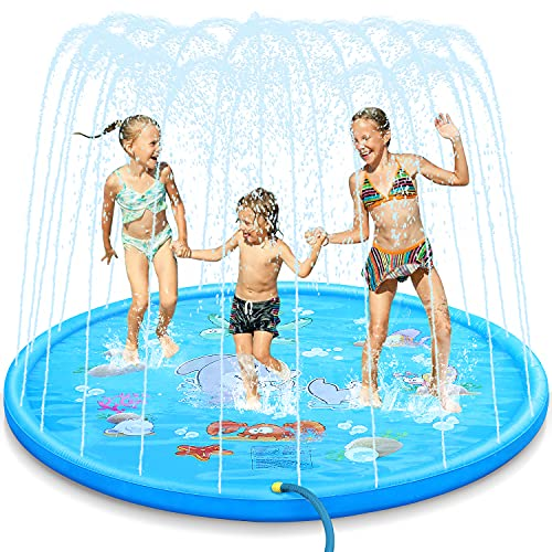 Dookey Sprinkle and Splash Play Mat, Summer Splash Play Mat Anti-Slip Outdoor Garden Games Garden Spray Toys for Kids/Pets (Blue)