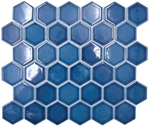 mosaico in ceramica Hexagon esagonale, verde blu, lucido, per pavimento, cucina, bagno, piastrelle, piastrelle a mosaico