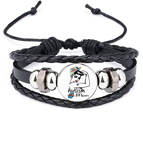 Braided Bracelet Children's gift adjustable hand-woven leather bracelet AUTISM MOM puzzle bracelet bracelet 12036501