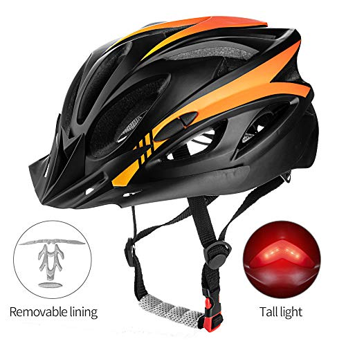 SUNRIMOON Adult Cycling Bike Helmet Lightweight Microshell Design Road Bike Helmet Bicycle Cycling Helmets Adjustable Size with Detachable Visor LED Safety Light for Women and Men 21.26-24.41 Inches