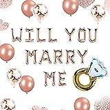 JeVenis Set de 12 oro rosa ¿Quieres casarte conmigo Globos Cásate conmigo Globos Ideas de matrimonio Propuesta de boda Decoraciones Decoración