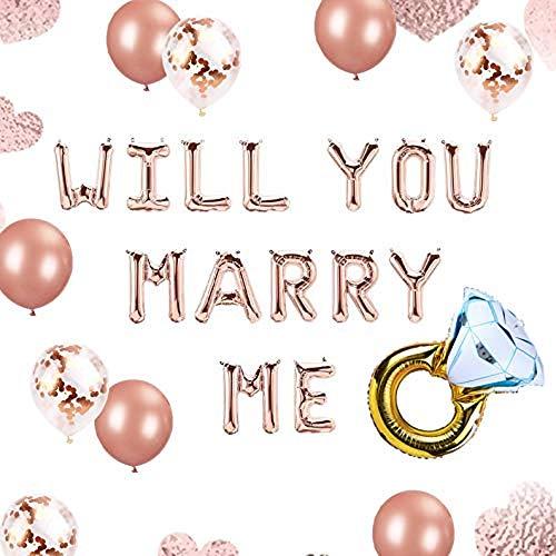 JeVenis Set von 12 Rose Gold Willst du Mich heiraten Luftballons Heirate Mich Luftballons Heiratsantrag Ideen Hochzeitsantrag Dekorationen Dekor