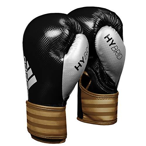Adidas Hybrid 75 - Guantes de boxeo., color Black/Gold/Silve