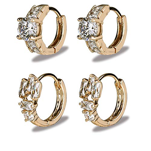 Yumay 20mm Small 9ct Yellow Gold Hoop Earrings Made with Crystal for Women.
