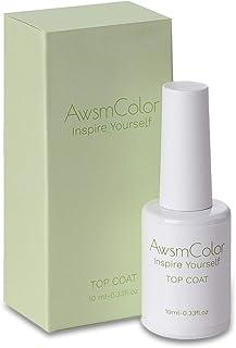 Top Coat Nail Polish, AwsmColor No Wipe Gel Top Coat, 10ml Soak Off UV LED Top Coat for Gel Nail Polish Mirror Shine Finish Long Lasting