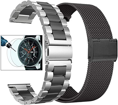 Valkit Compatible with Galaxy Watch 42mm Band Sets, 2-Pack 20mm Stainless Steel Solid Wrist Band Metal Strap Bracelet+Screen Protectors Replacement for Galaxy Watch 42mm/Galaxy Watch Active 40mm